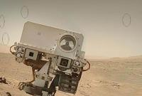 Flying Spacecraft in Curiosity Rover Mars Photo